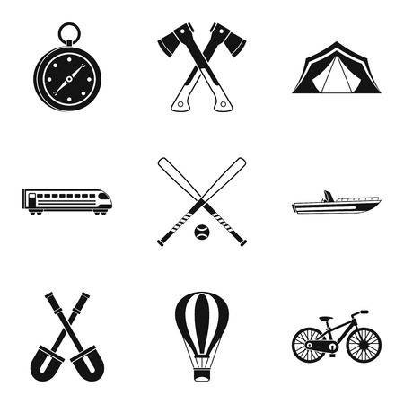 Big muscle icons set, simple style