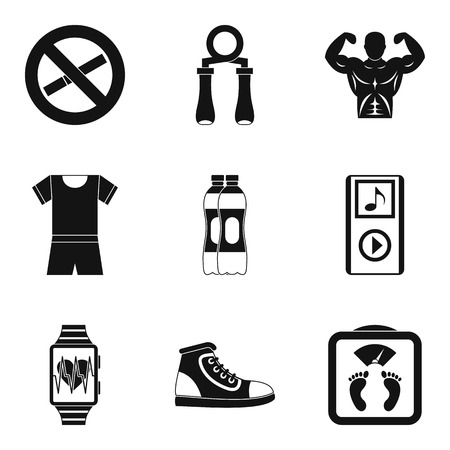 Water replenishment icons set, simple style Illustration