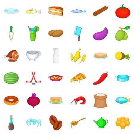 Cooking icons set, cartoon style Illustration