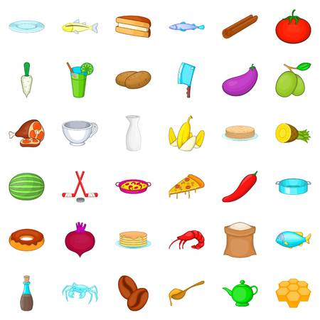 Cooking icons set, cartoon style Illustration