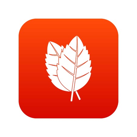 Two basil leaves icon digital red for any design isolated on white vector illustration Illustration
