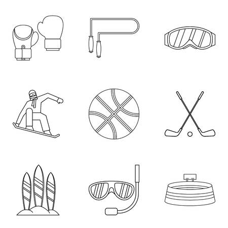 Descent icons set. Outline set of 9 descent vector icons for web isolated on white background