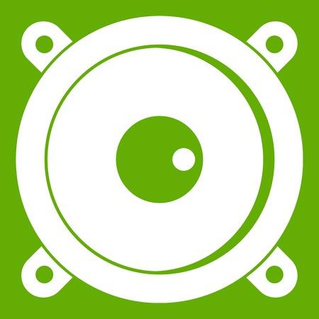 subwoofer: Audio speaker icon white isolated on green background. Vector illustration