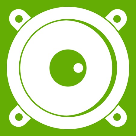 Audio speaker icon white isolated on green background. Vector illustration