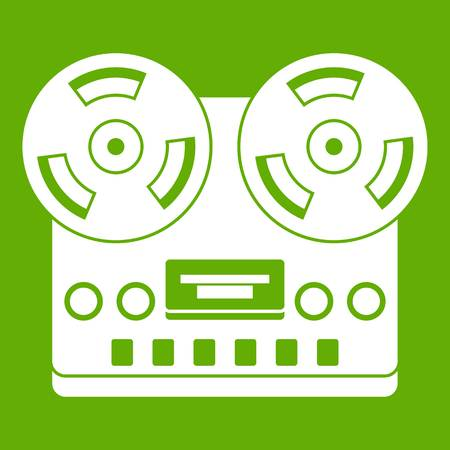 Retro tape recorder icon white isolated on green background. Vector illustration