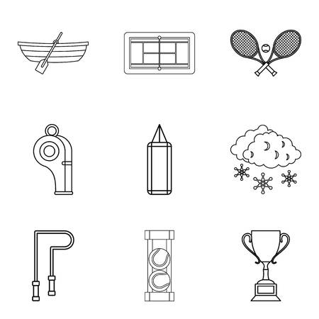 Tennis icons set. Outline set of 9 tennis vector icons for web isolated on white background