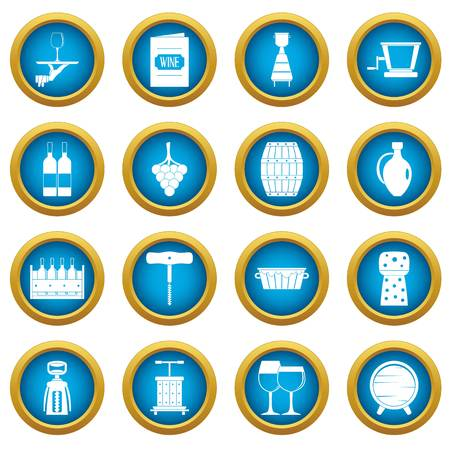 Wine icons blue circle set isolated on white for digital marketing