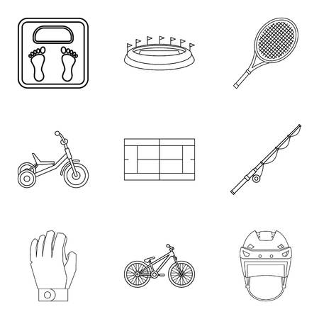 Weight icons set. Outline set of 9 weight vector icons for web isolated on white background
