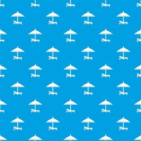 brolly: Bench and umbrella pattern repeat seamless in blue color for any design. Vector geometric illustration Illustration