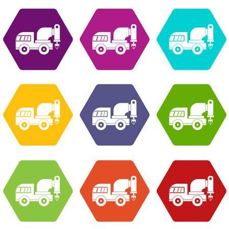 Set di icone di foratura impostare molti esagono di colore isolato su bianco illustrazione vettoriale