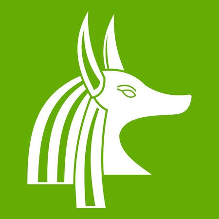 Ancient egyptian god Anubis icon white isolated on green background. Vector illustration Illustration