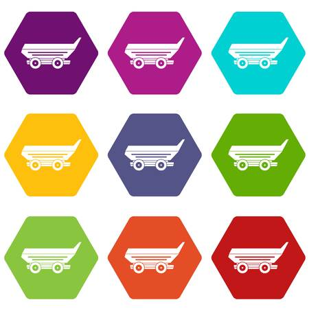 cushy: Car trailer icon set many color hexahedron isolated on white vector illustration