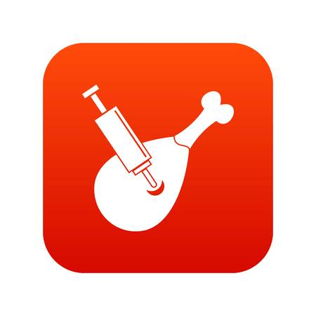 Syringe being injected to a piece of meat icon digital red for any design isolated on white vector illustration