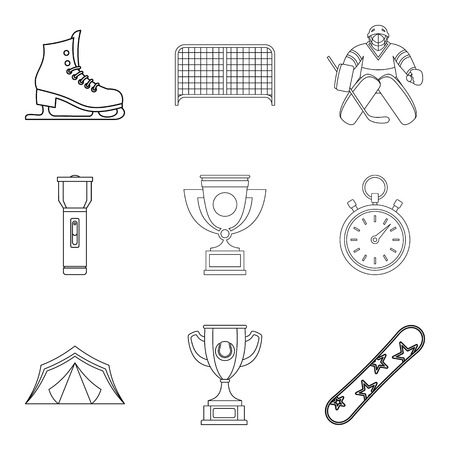 Cup icons set. Outline set of 9 cup vector icons for web isolated on white background