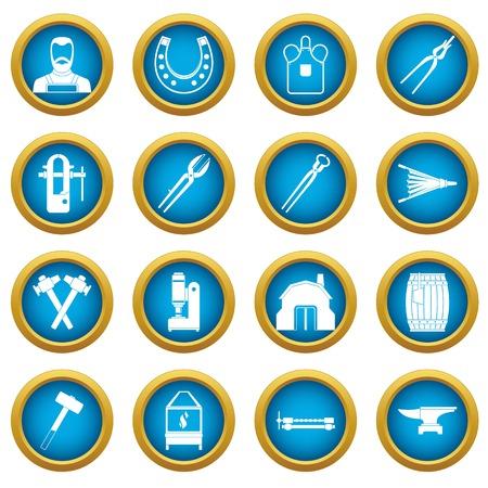 Blacksmith icons blue circle set isolated on white for digital marketing