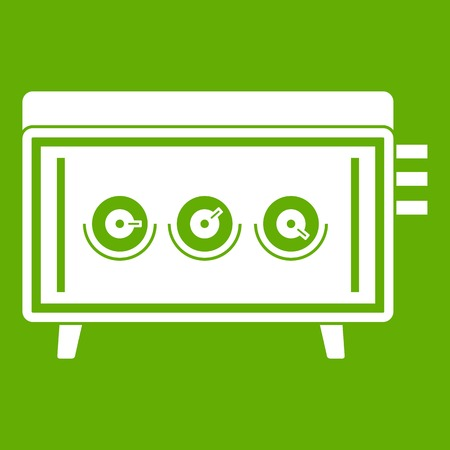 dvd player: CD changer icon white isolated on green background. Vector illustration