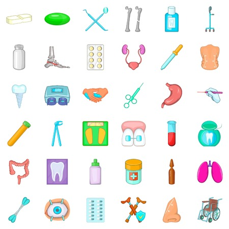 eye pipette: Therapy icons set. Cartoon style of 36 therapy vector icons for web isolated on white background Illustration