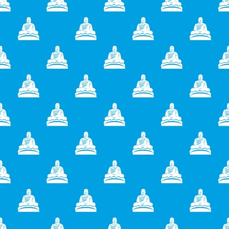Buddha statue pattern repeat seamless in blue color for any design. Vector geometric illustration Illustration