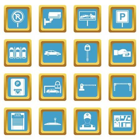 Parcheggio auto impostare icone in colore di colore isolato illustrazione vettoriale per il web e qualsiasi design Vettoriali