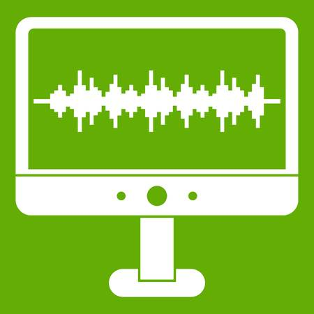 Sound waves icon white isolated on green background. Vector illustration Illustration