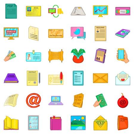 Folder icons set. Cartoon style of 36 folder vector icons for web isolated on white background