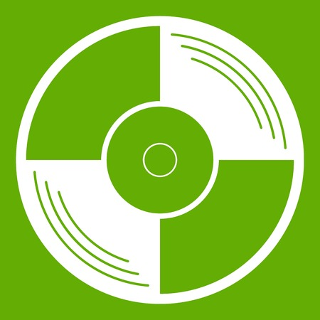 Vinyl record icon white isolated on green background. Vector illustration