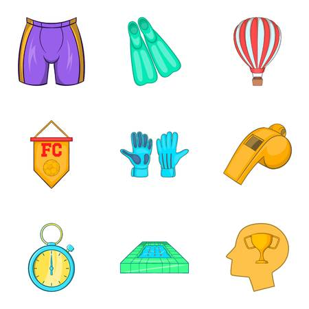 Football club icons set. Cartoon set of 9 football club vector icons for web isolated on white background