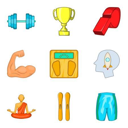 Meditation icons set. Cartoon set of 9 meditation vector icons for web isolated on white background