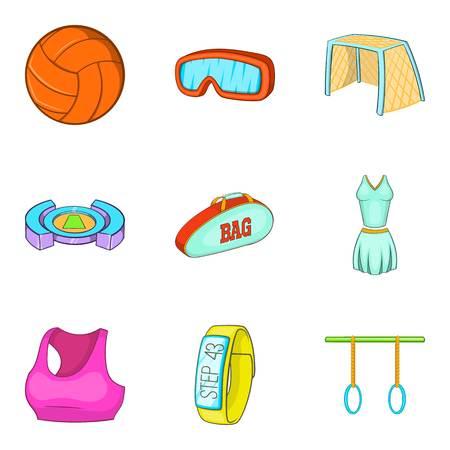 Fitness bracelet icons set. Cartoon set of 9 fitness bracelet vector icons for web isolated on white background