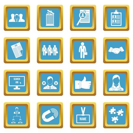 Human resource management icons set in azur color isolated vector illustration for web and any design Illustration