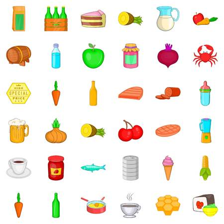 grille: Feeding icons set. Cartoon style of 36 feeding vector icons for web isolated on white background