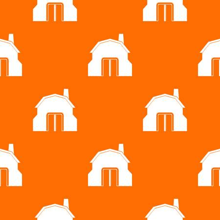 Blacksmith workshop building pattern repeat seamless in orange color for any design. Vector geometric illustration Illustration