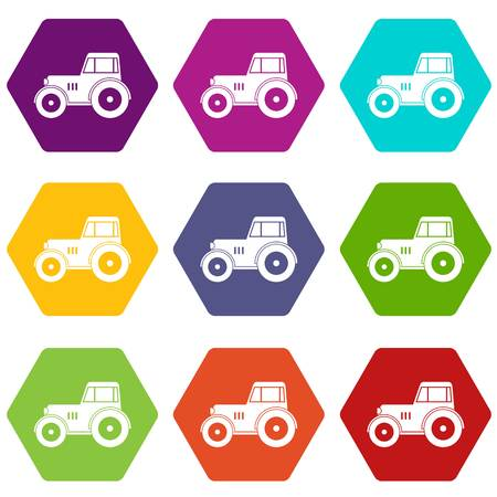 traction: Tractor icon set many color hexahedron isolated on white vector illustration