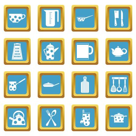 Kitchen tools and utensils icons set in azur color isolated vector illustration for web and any design