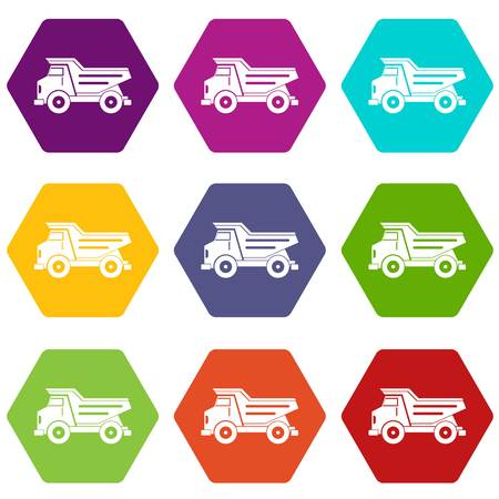 sand quarry: Dump truck icon set many color hexahedron isolated on white vector illustration