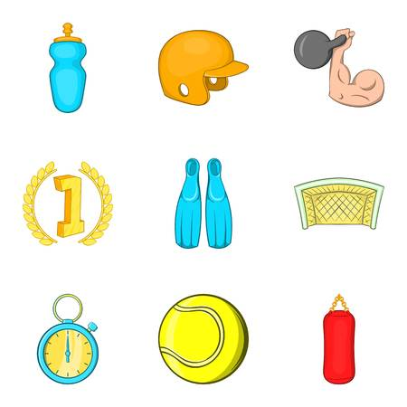 Record icons set. Cartoon set of 9 record vector icons for web isolated on white background