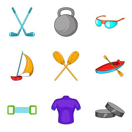 Rafting icons set. Cartoon set of 9 rafting vector icons for web isolated on white background