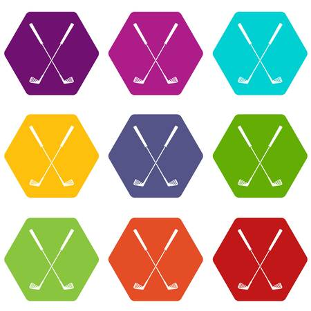 Two golf clubs icon set many color hexahedron isolated on white vector illustration