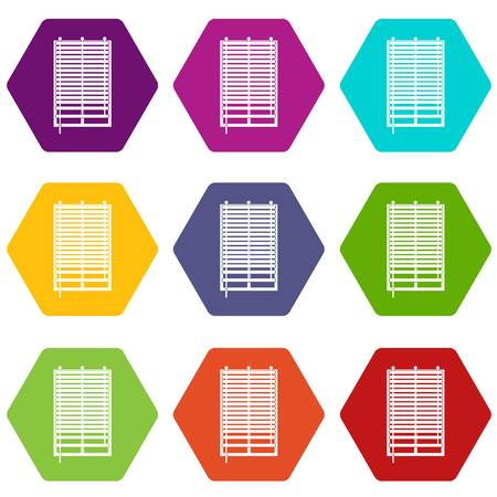 Window with wooden jalousie icon set many color hexahedron isolated on white vector illustration