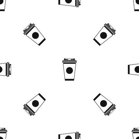 Papel de la taza de café repetición patrón sin problemas en color negro para cualquier diseño. Vector ilustración geométrica Ilustración de vector