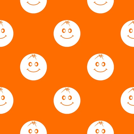 Smiling fruit pattern repeat seamless in orange color for any design. Vector geometric illustration