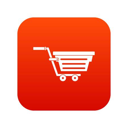 convenient: Shopping basket on wheels icon digital red for any design isolated on white vector illustration Illustration