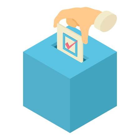 Ballot box icon. Isometric illustration of ballot box vector icon for web