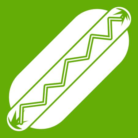 Bun and sausage icon white isolated on green background. Vector illustration