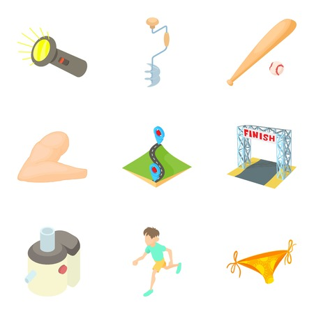 Sport nutrition icons set. Cartoon set of 9 sport nutrition vector icons for web isolated on white background