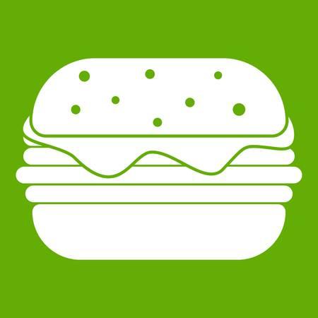 Hamburger icon white isolated on green background. Vector illustration