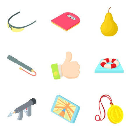 Underwater hunting icons set. Cartoon set of 9 underwater hunting vector icons for web isolated on white background