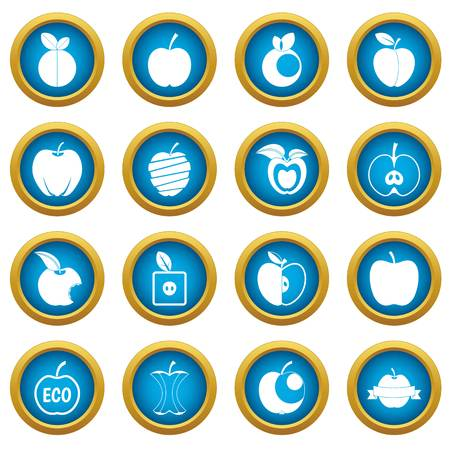 Apple icons blue circle set isolated on white for digital marketing