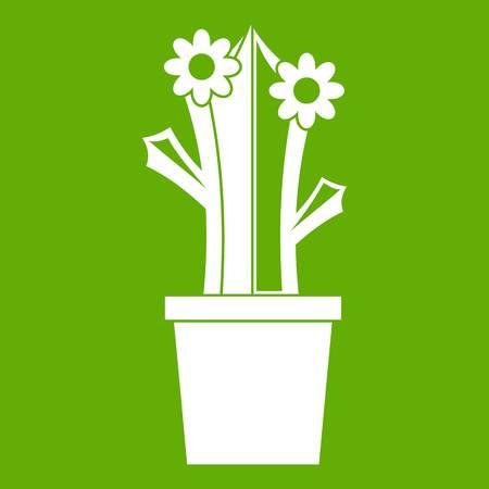 Flowering cactus icon white isolated on green background. Vector illustration Illustration