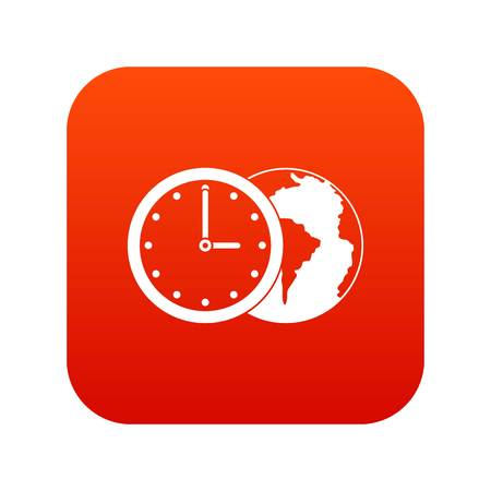 World planet with watch icon digital red for any design isolated on white vector illustration Illustration